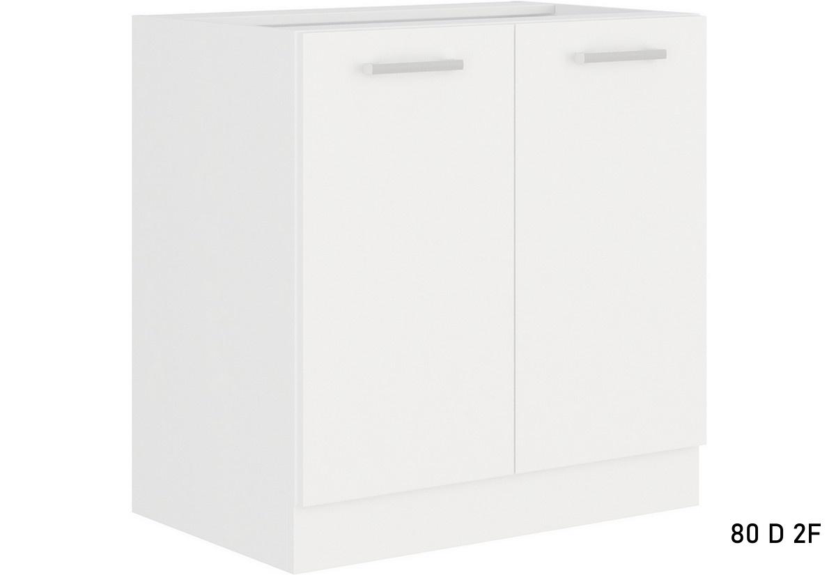 Kuchyňská skříňka dolní dvoudveřová ALBERTA 80D 2F BB, 80x82x52, bílá