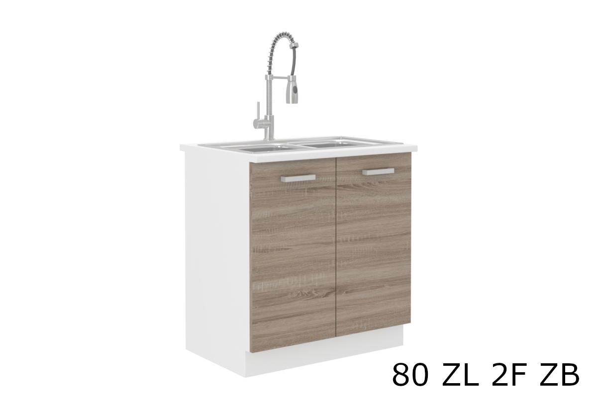 Kuchyňská skříňka dřezová s pracovní deskou SOPHIA 80 ZL 2F ZB, 80x82x60, bílá/dub sonoma trufel