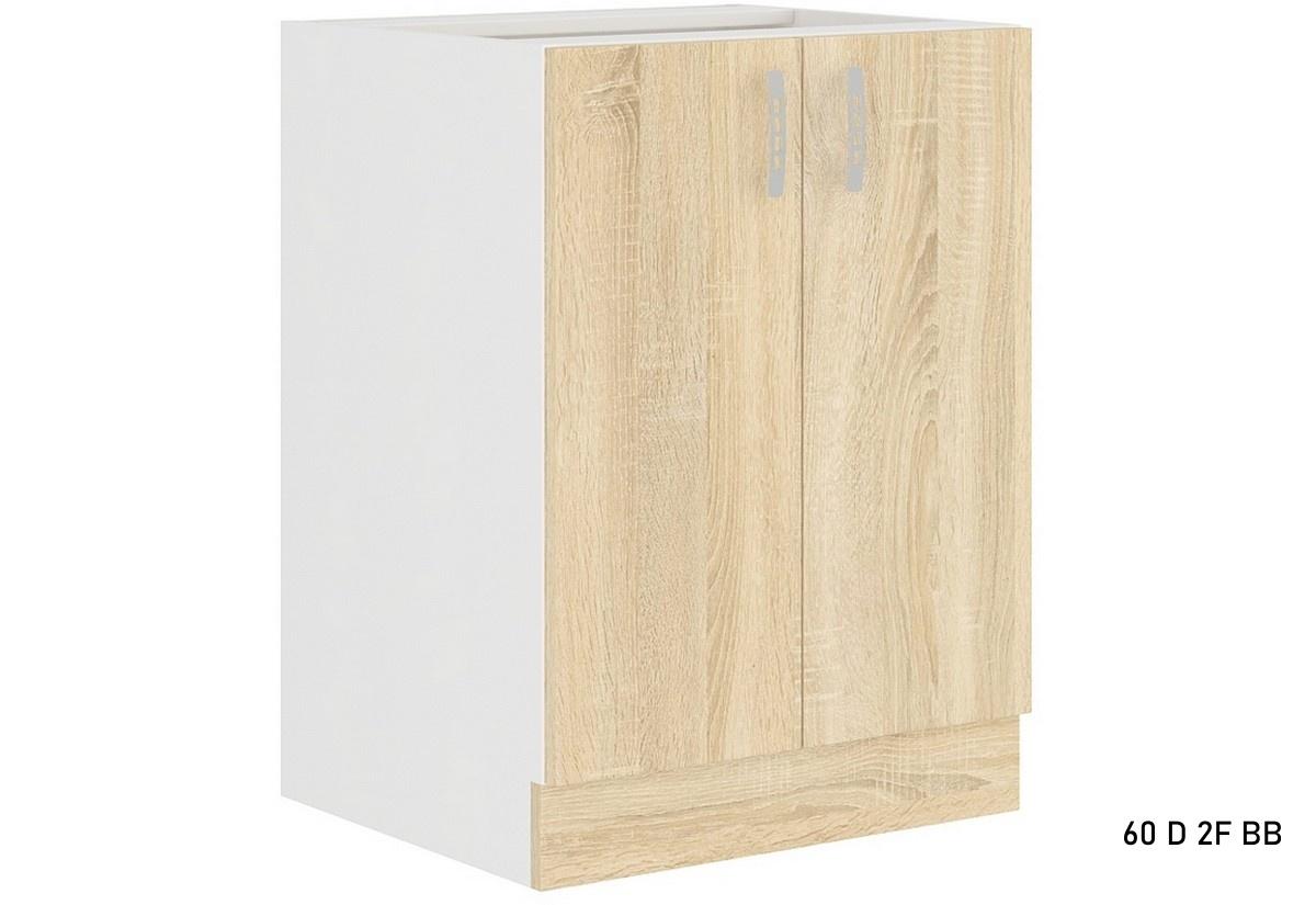 Kuchyňská skříňka dolní dvoudveřová AVRIL 60 D 2F BB, 60x82x48, bílá/sonoma