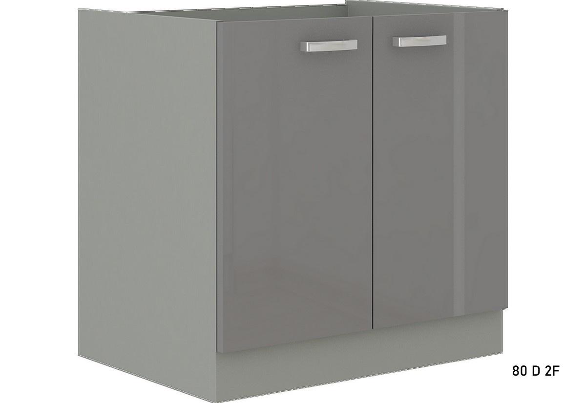 Kuchyňská skříňka dolní dvoudveřová s pracovní deskou GRISS 80 D 2F, 80x82x52, šedá/šedá lesk