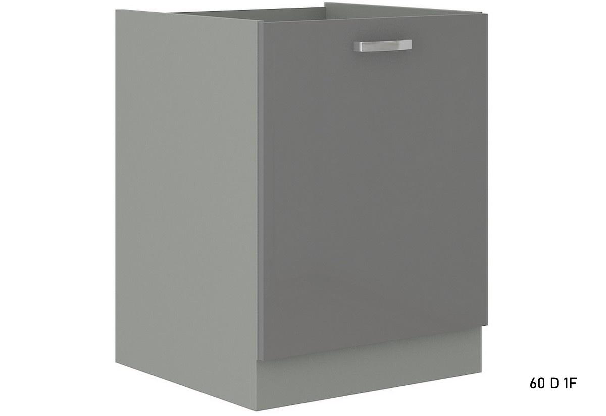 Kuchyňská skříňka dolní s pracovní deskou GRISS 60 D 1F, 60x82x52, šedá/šedá lesk