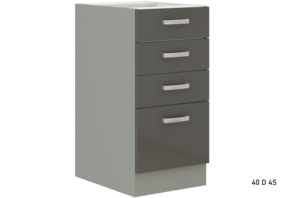 Kuchyňská skříňka dolní šuplíková GRISS 40 D 4S BB, 40x82x52, šedá/šedá lesk
