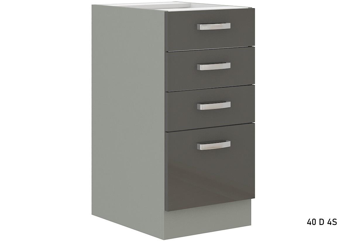 Kuchyňská skříňka dolní šuplíková s pracovní deskou GRISS 40 D 4S, 40x82x52, šedá/šedá lesk