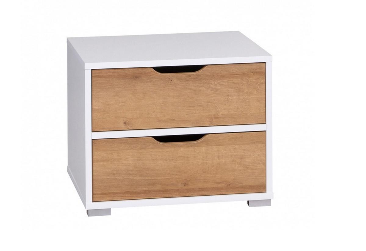 Noční stolek DITA SNOC, 50x40x40, bílá/dub zlatý