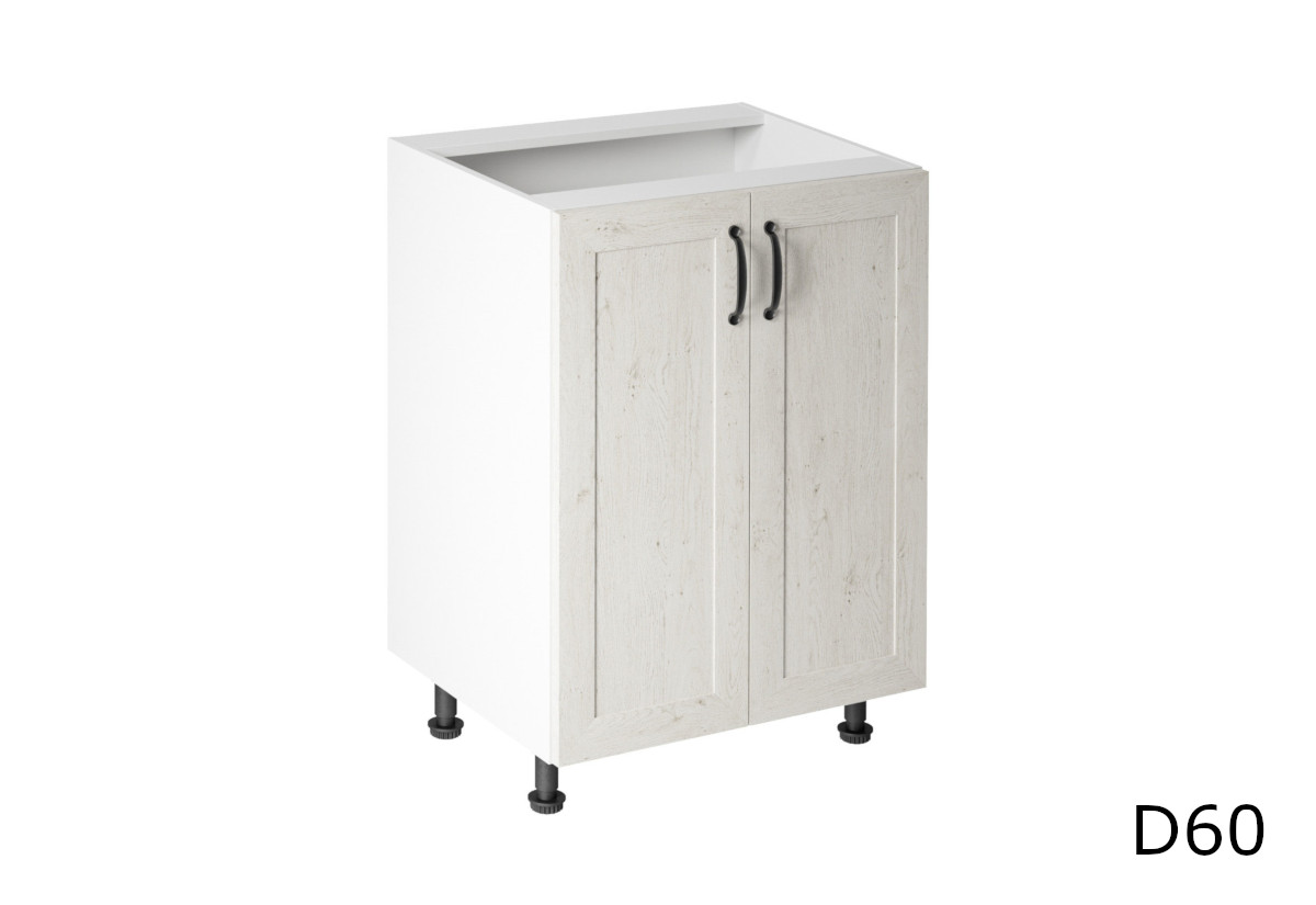 Kuchyňská skříňka dolní dvoudveřová KINGDOM D60, 60x82x47, bílá sosna skandinávská/dub divoký