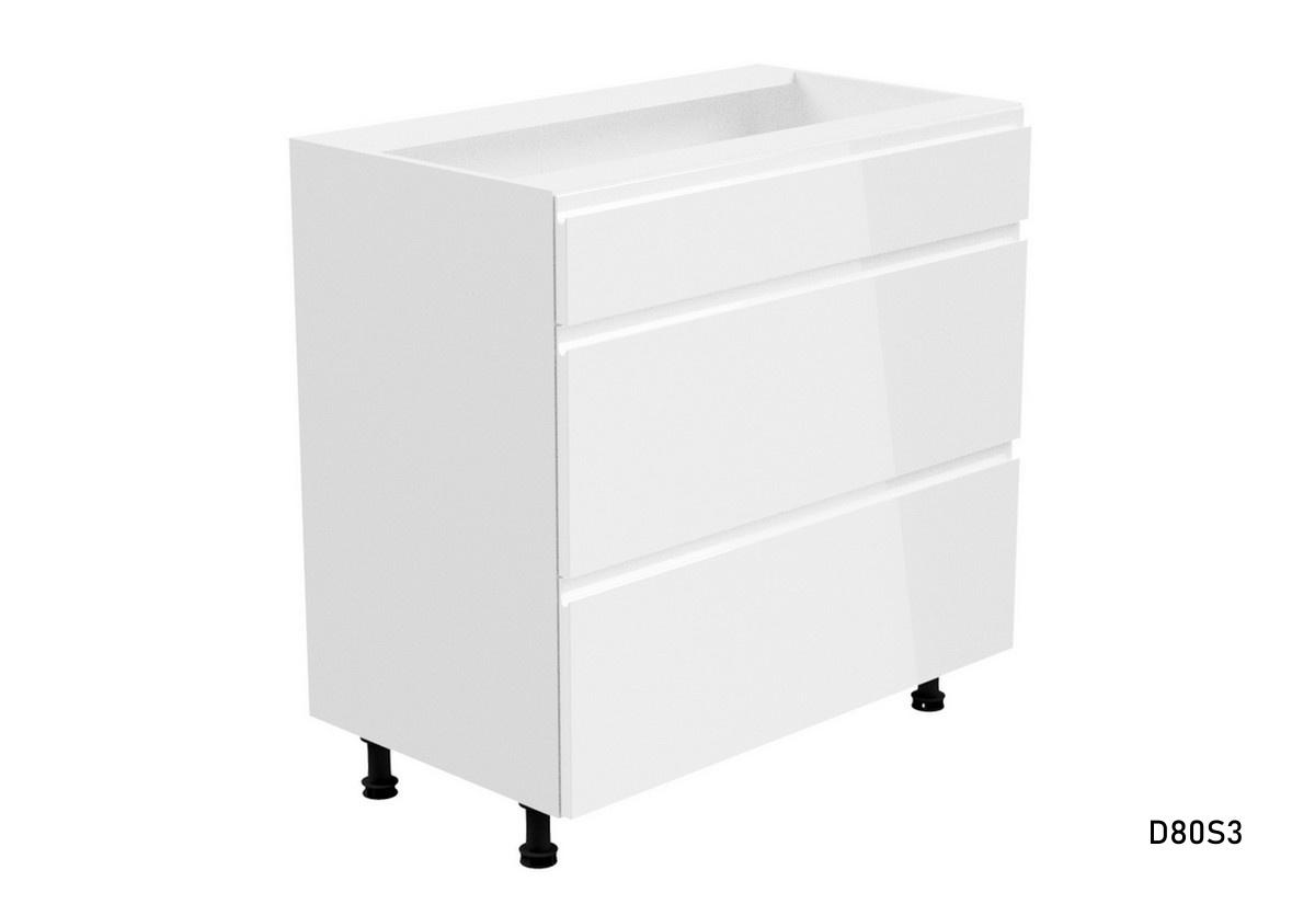Kuchyňská skříňka dolní šuplíková široká YARD D80S3, 80x82x47, bílá/bílá lesk