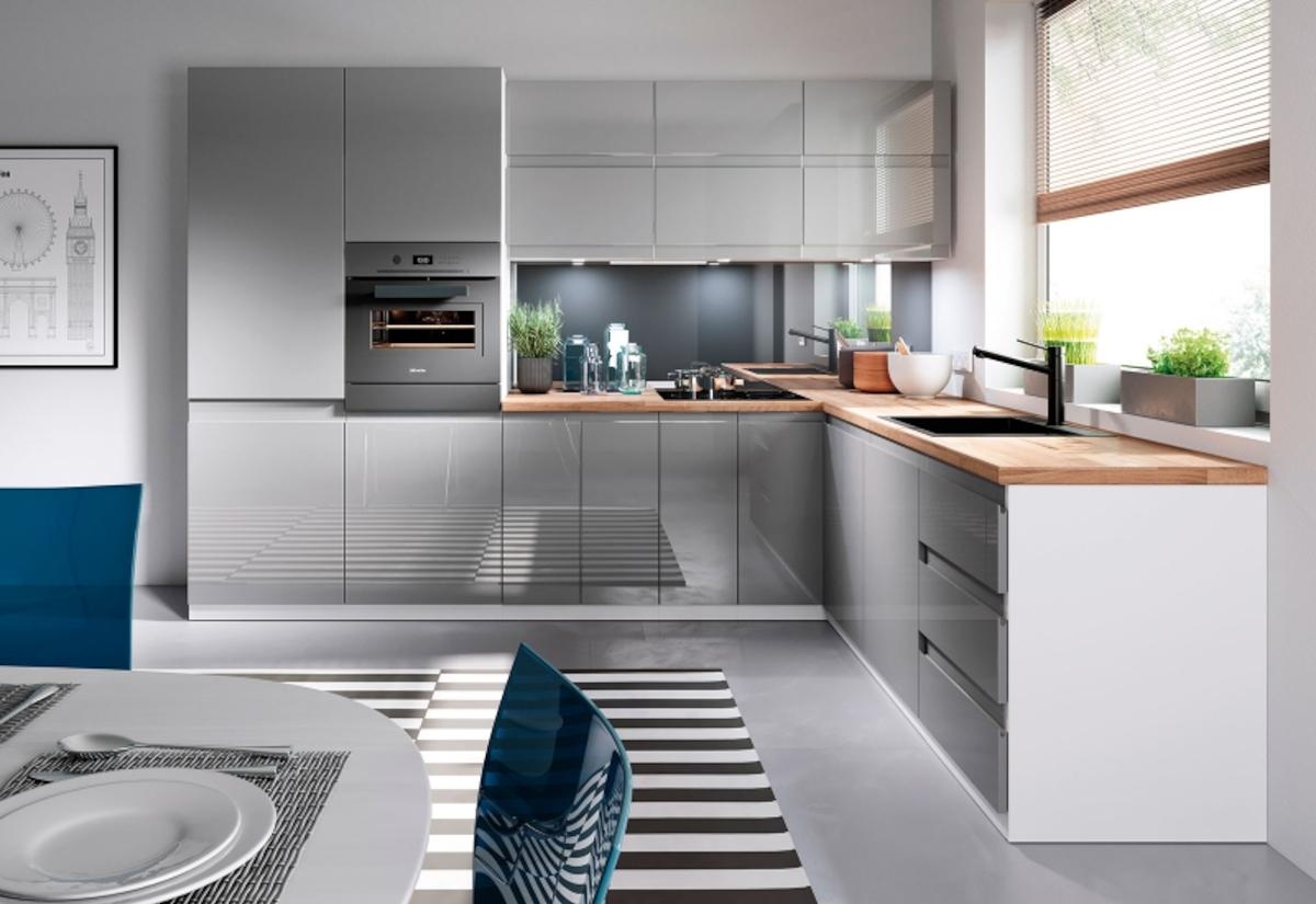 Kuchyňská sestava YARD 240 + kuchyňský dřez, bílá/šedá lesk, pravá