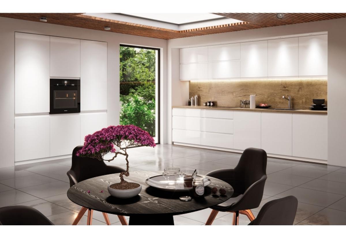 Kuchyňská sestava YARD 280 + kuchyňský dřez, bílá/bílá lesk, pravá