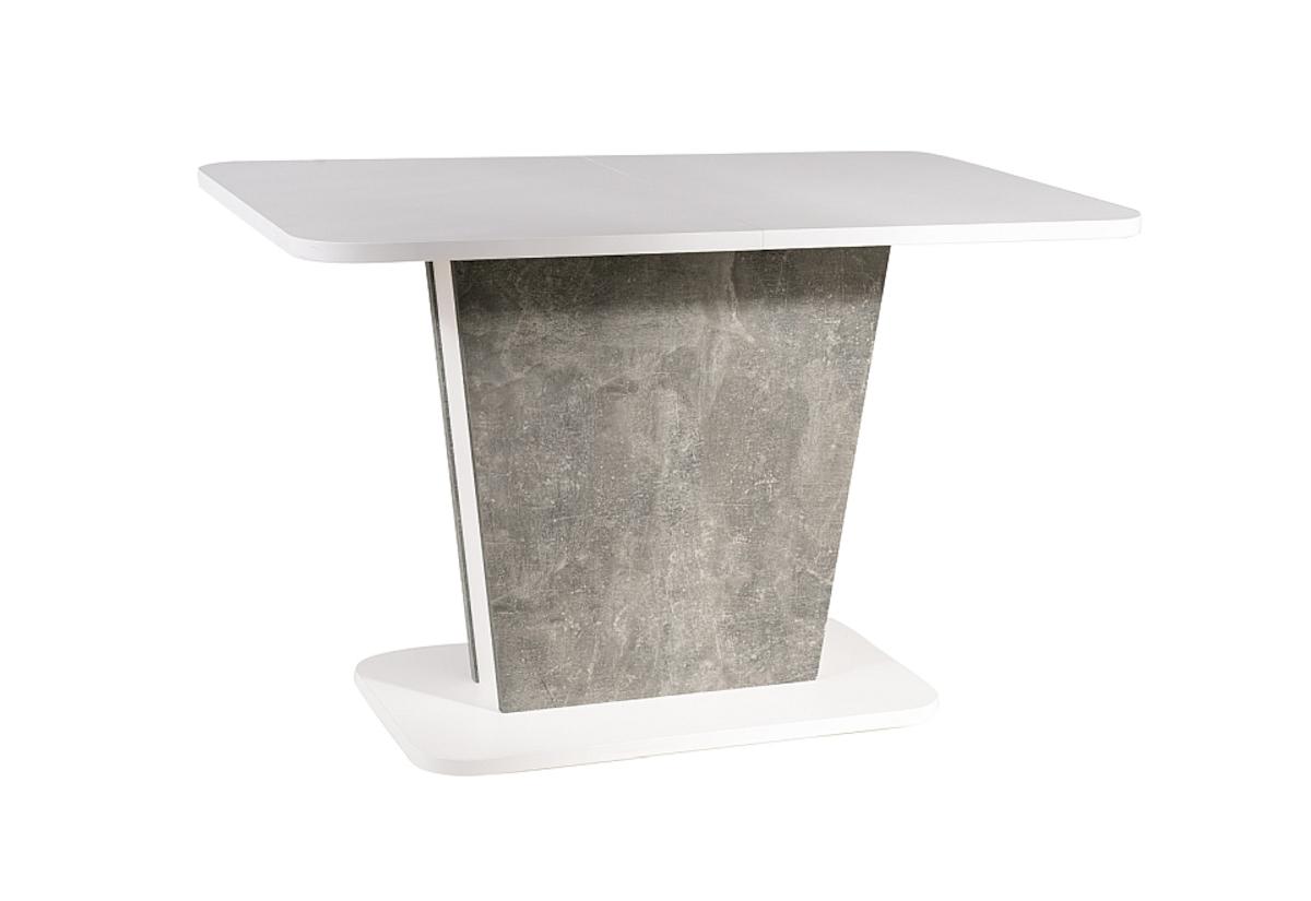 Expedo Rozkládací jídelní stůl HESTIA, 110-145x76x68, bílá/beton