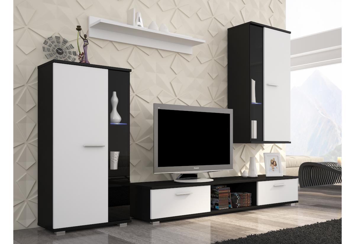 Obývací sestava CALLY, černá/bílá