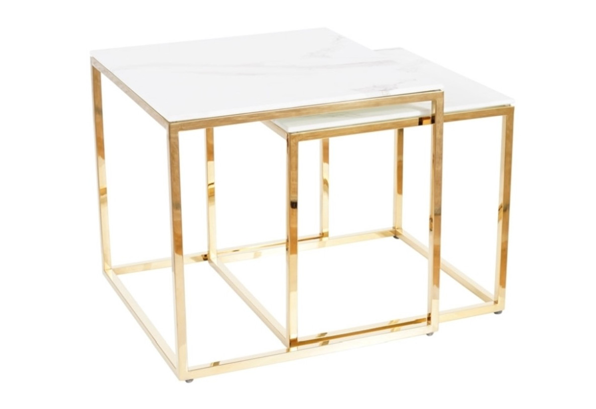 Set konferenčních stolků KALIOPE, bílý mramor/zlatá