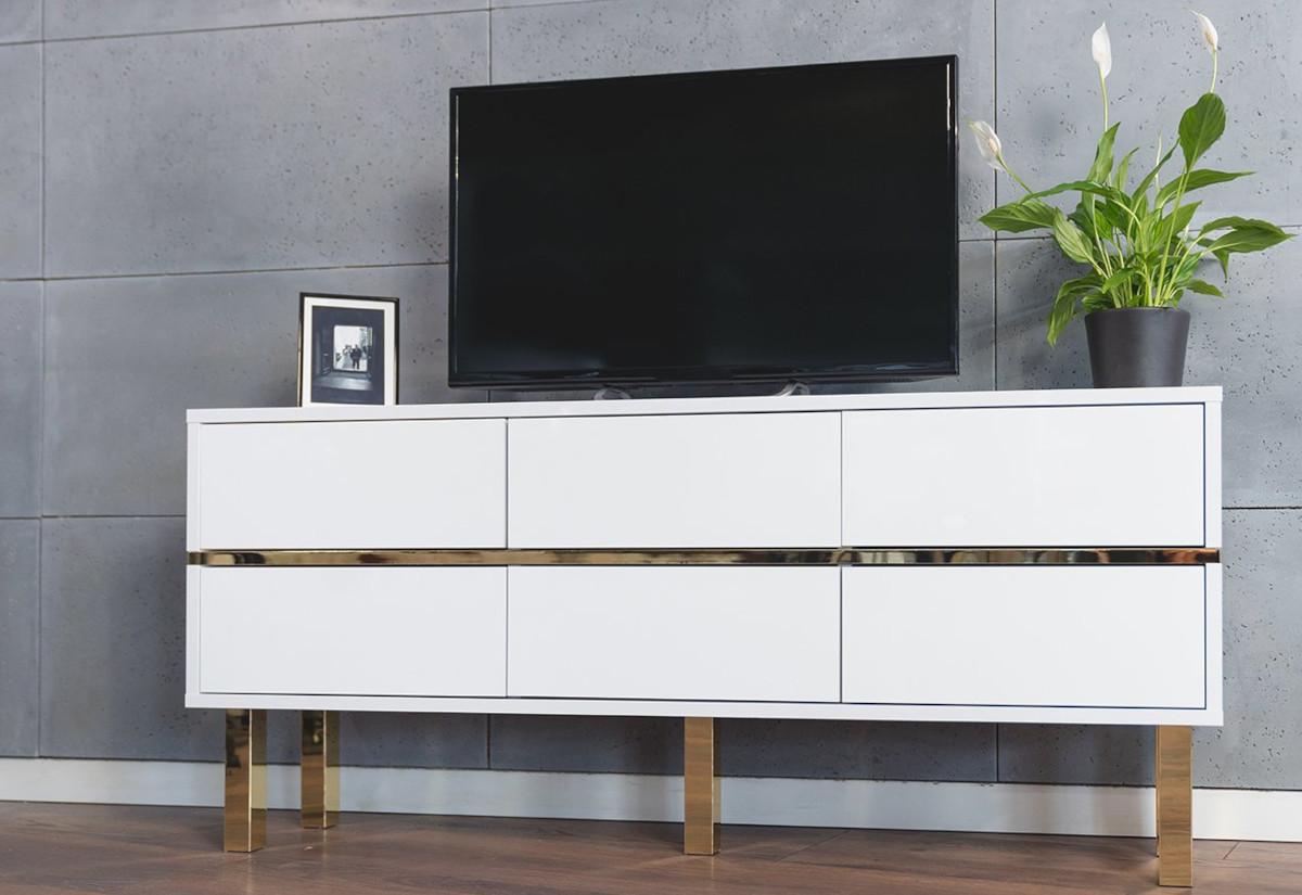 TV stolek DANCAN MATRAGI, 138x61x30, bílá lesk